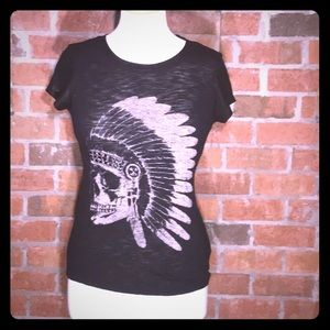 Express Indian Tee w/ Faux Leather Sleeves & studs